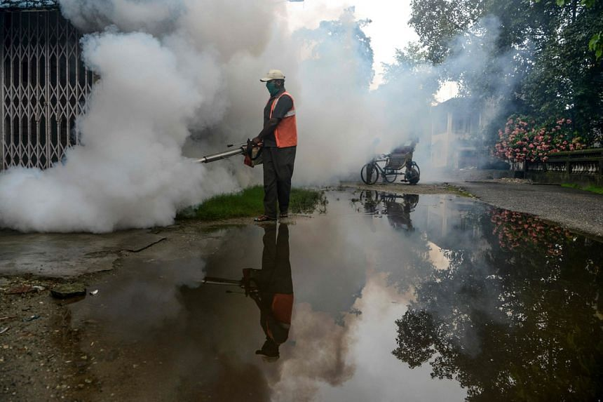 A municipal worker fumigates a residential area as a preventive measure against disease-carrying mosquitoes in Siliguri, on June 25, 2020.