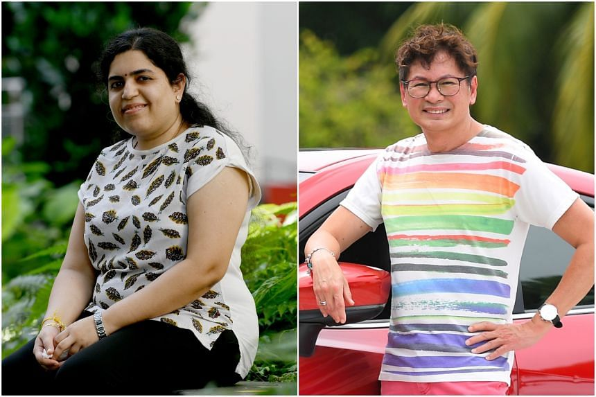 Ms Srividhya Ganapathy Sundaram (left) has been keeping herself occupied while looking for a new job, while Mr Raymond Leong is now working as a Grab driver.