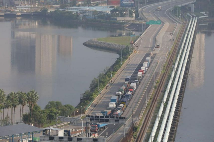 The Woodlands Causeway as viewed from Singapore at 8.30am on Aug 17, 2020.