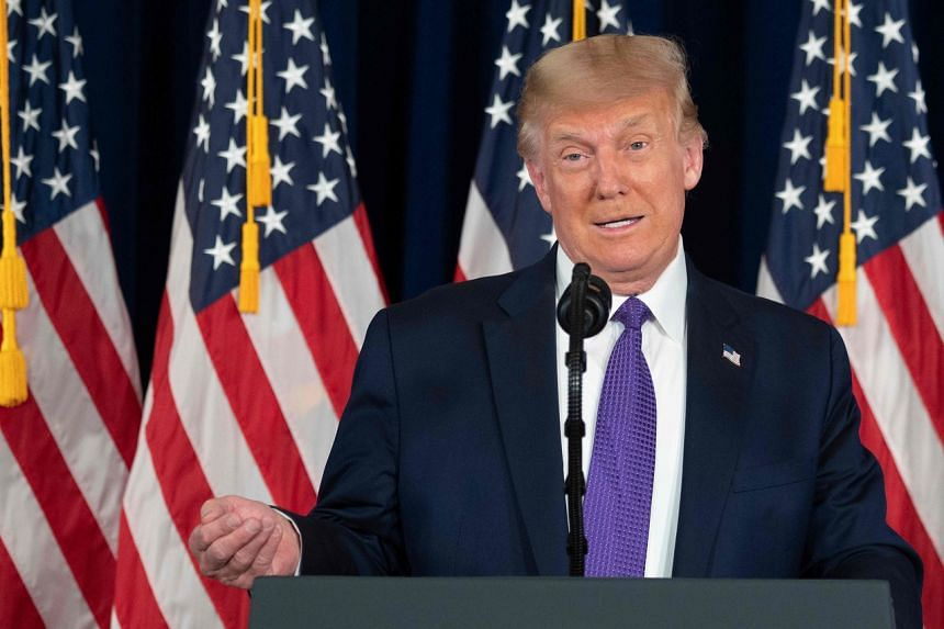 US President Donald Trump speaks during a press conference in Bedminster, New Jersey, on Aug 15, 2020.