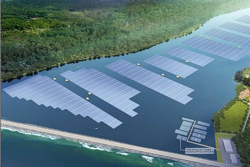 An artist's impression of the upcoming floating solar farm at Tengeh Reservoir. The farm is expected to offset about 32 kilotonnes of carbon emissions each year, equivalent to taking some 7,000 cars off the road. PHOTO: PUB/SEMBCORP