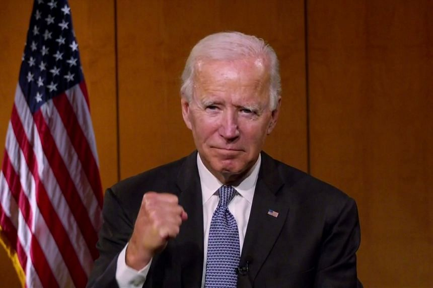 Democratic US presidential candidate Joe Biden appears via video feed at the virtual Democratic National Convention on Aug 17, 2020.