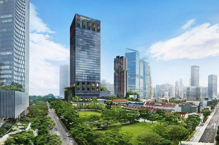 Artist's impressions (above and below) of GuocoLand's Guoco Midtown integrated mixed-use project. The Midtown Modern condo will comprise two towers with over 500 apartments, and Midtown Square, a retail project above Bugis MRT station in Tan Quee Lan