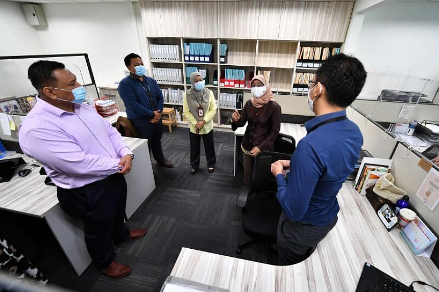 President Halimah Yacob during a visit to non-profit group AMP Singapore in Pasir Ris on Aug 20, 2020.