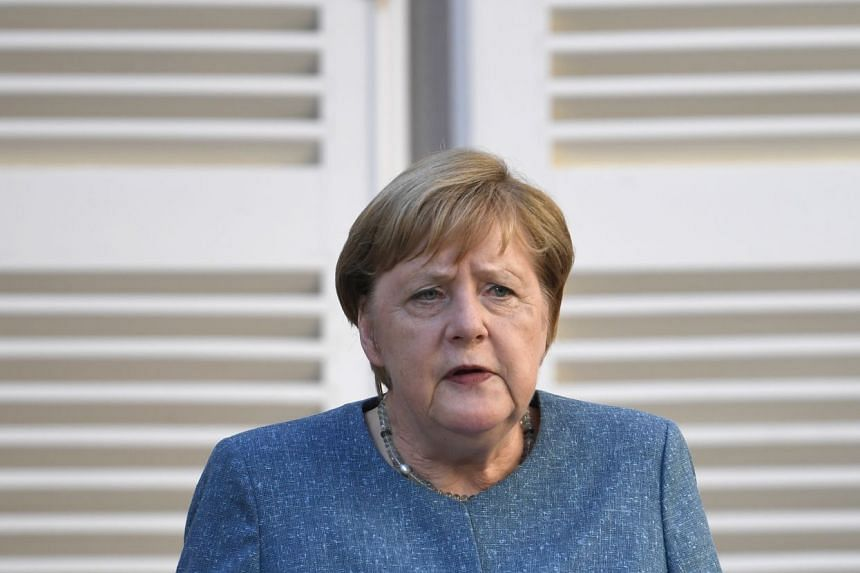 Merkel speaks during a press conference after a meeting with Macron in France on Aug 20, 2020.