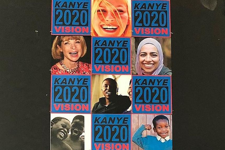 Kanye West's Twitter promo included images of actress Kirsten Dunst (top) and Vogue editor Anna Wintour (far left), which he purportedly used without permission.