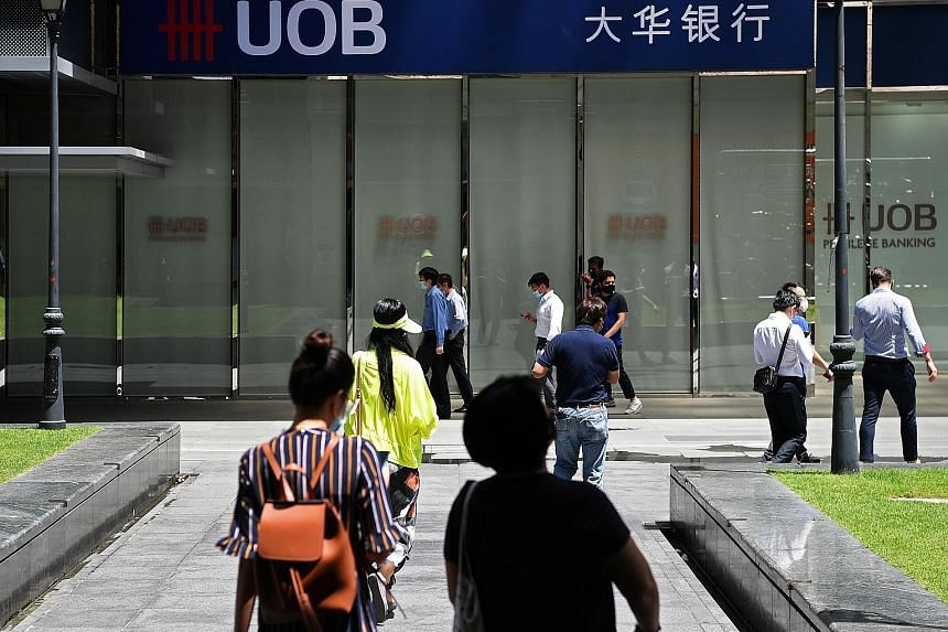 United Overseas Bank said customer traffic has increased steadily over the past two months since the bank started gradually reopening its branches. ST PHOTO: KUA CHEE SIONG