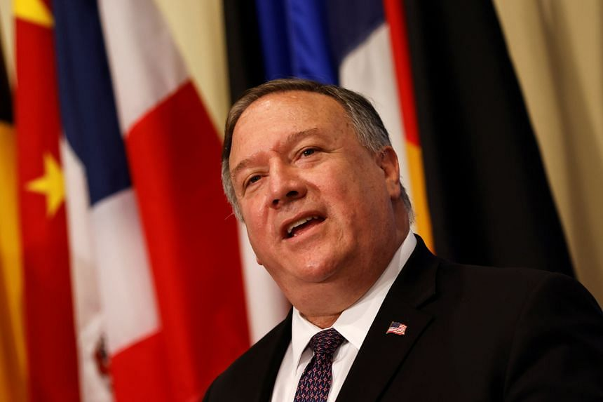 US Secretary of State Mike Pompeo speaks to reporters at UN headquarters in New York, on Aug 20, 2020.
