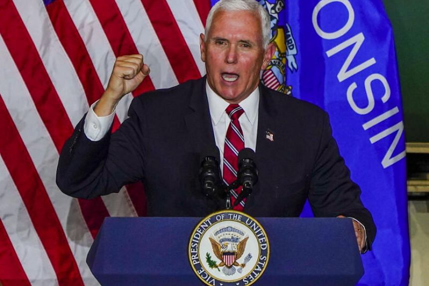 US Vice-President Mike Pence speaking at Tankcraft Corporation in Darien, Wisconsin, on Aug 19, 2020.