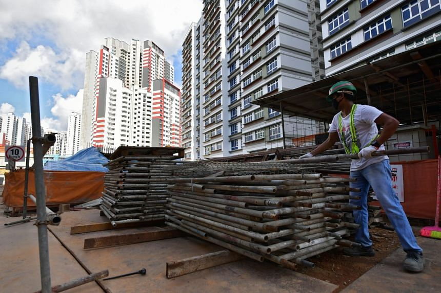 A worker at the Senja Valley BTO construction site on Aug 21, 2020.