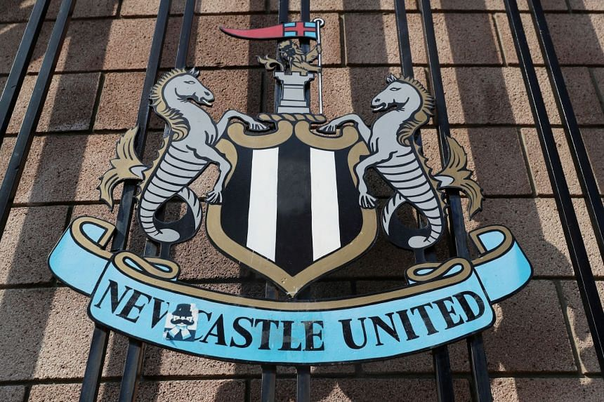 A general view of the Newcastle United emblem before a match.