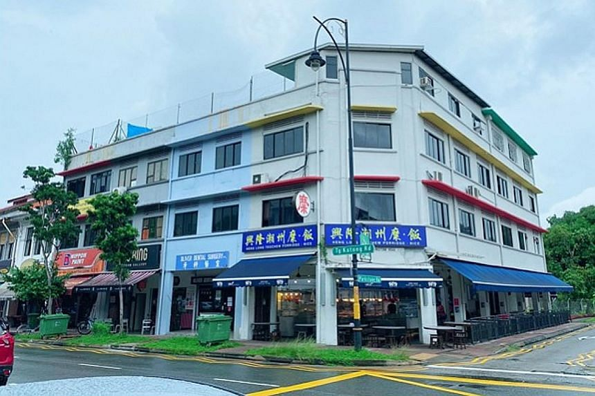 The four-storey conservation shophouse at 240 Tanjong Katong Road is fully occupied, with the ground floor leased to an eatery.