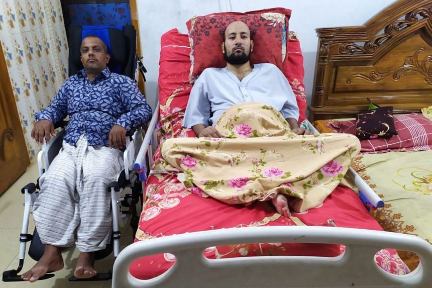 Bangladeshi worker Janaed (on bed) had suffered severe injuries from a 3m-high fall and is now a bed-ridden quadriplegic. In a separate case a few months earlier, his brother Jahid (in wheelchair) fell from a ladder while doing air-con maintenance wo