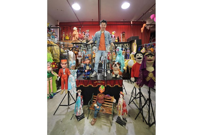 Mr Frankie Yeo, whose stage name is Frankie Malachi, with his puppets in his warehouse space in MacPherson Industrial Complex. With live performances cancelled because of Covid-19, he has made the difficult decision to sell some of his puppets to pay