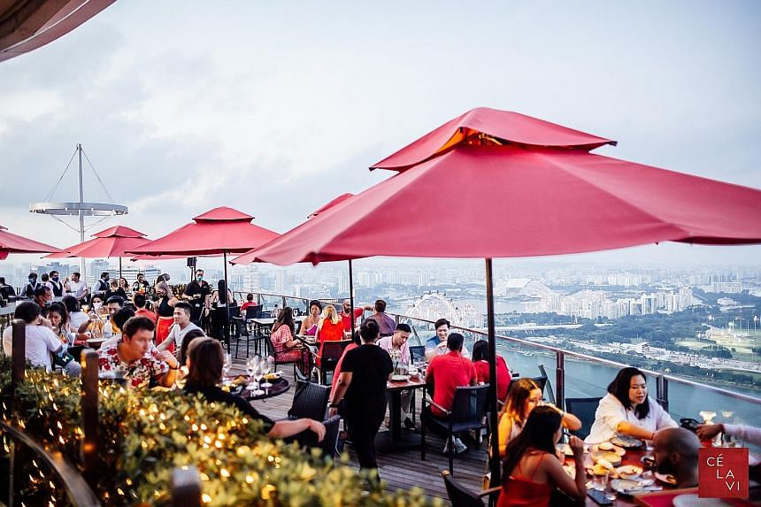 A Sky High Hawker event on Aug 9 at Ce La Vi. The club at Marina Bay Sands has reinvented itself to be able to continue operating at a time when coronavirus restrictions have shuttered nightlife businesses. Ce La Vi now has a casual dining concept ca