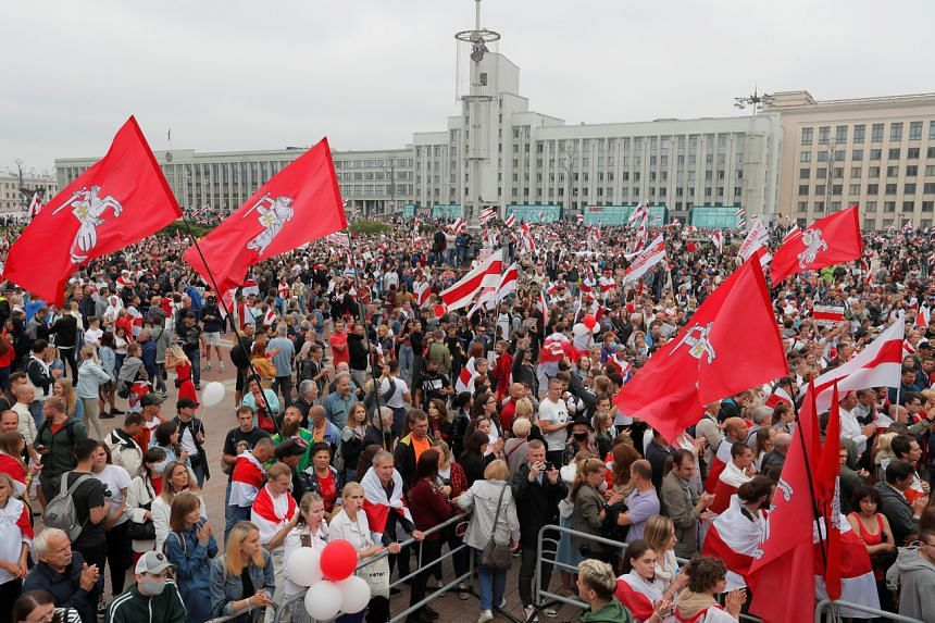 People protesting against the presidential election results at a demonstration in Independence Square in Minsk, Belarus, on Aug 23, 2020.
