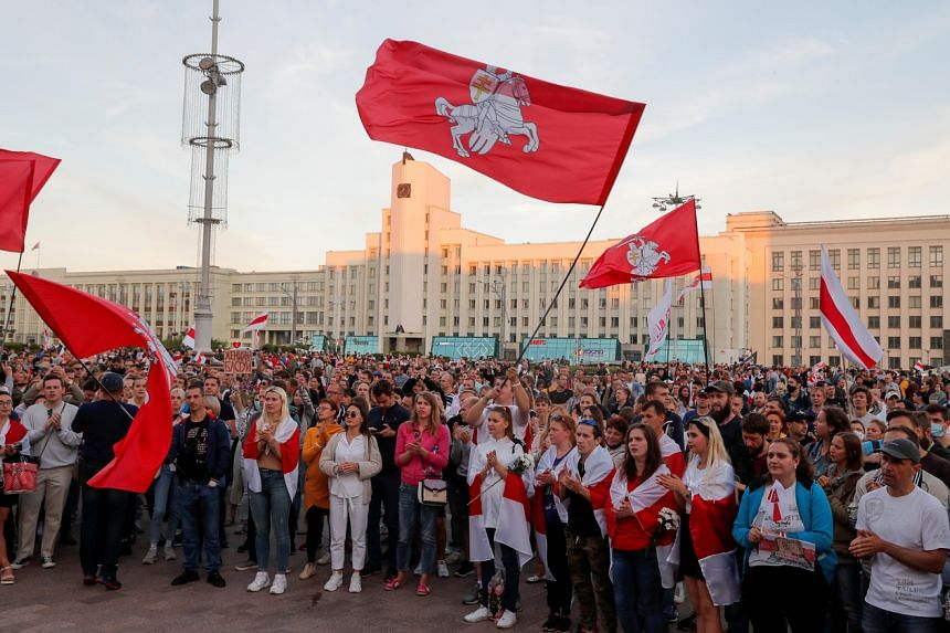 People attend an opposition demonstration at the Independence Square in Minsk, Belarus, on Aug 22, 2020.