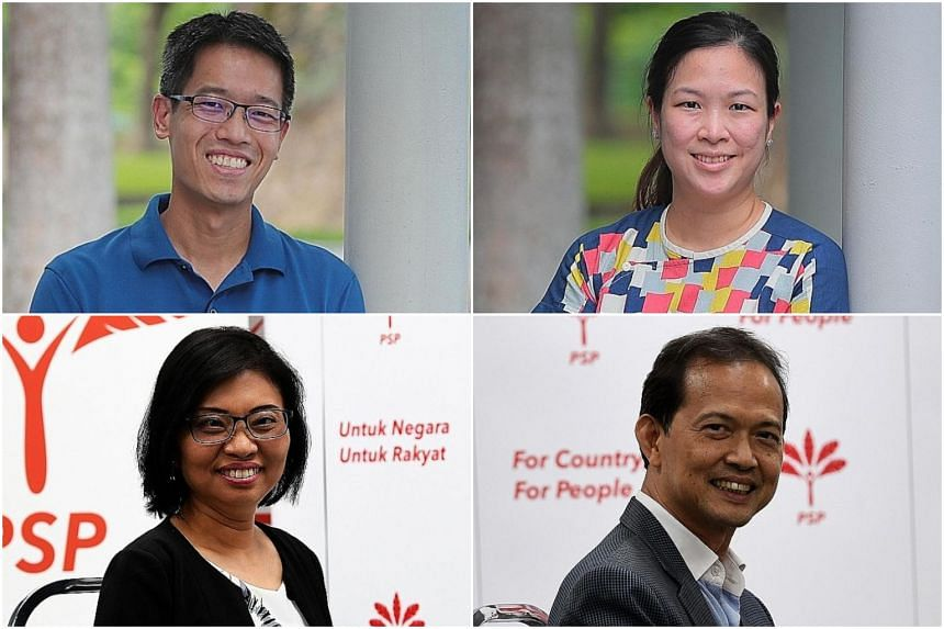(Clockwise from top left) Mr Gerald Giam, Ms He Ting Ru, Mr Leong Mun Wai and Ms Hazel Poa.