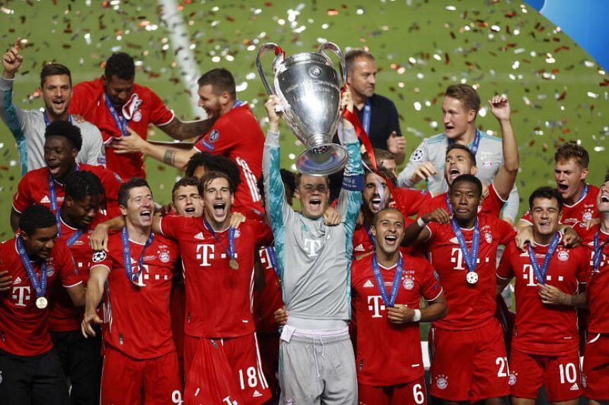 Bayern Munich celebrate winning the Champions League on Aug 23, 2020.