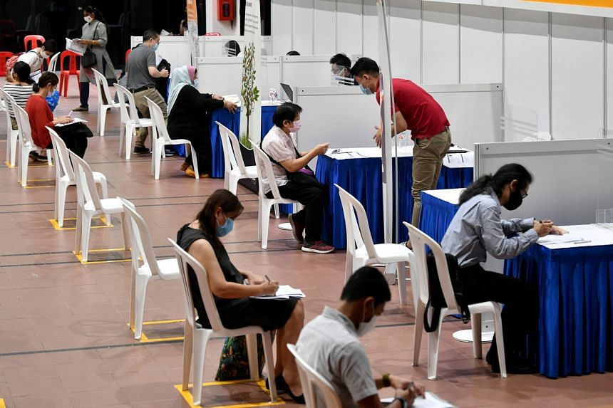 A job fair organised by NTUC's Employment and Employability Institute held at the Bukit Panjang community centre on Aug 18, 2020.