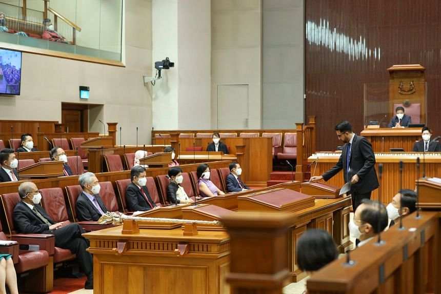 Workers' Party chief and Leader of the Opposition Pritam Singh at the opening of the 14th Parliament.