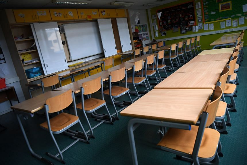 An empty class room at a school in southern London on Aug 20, 2020.