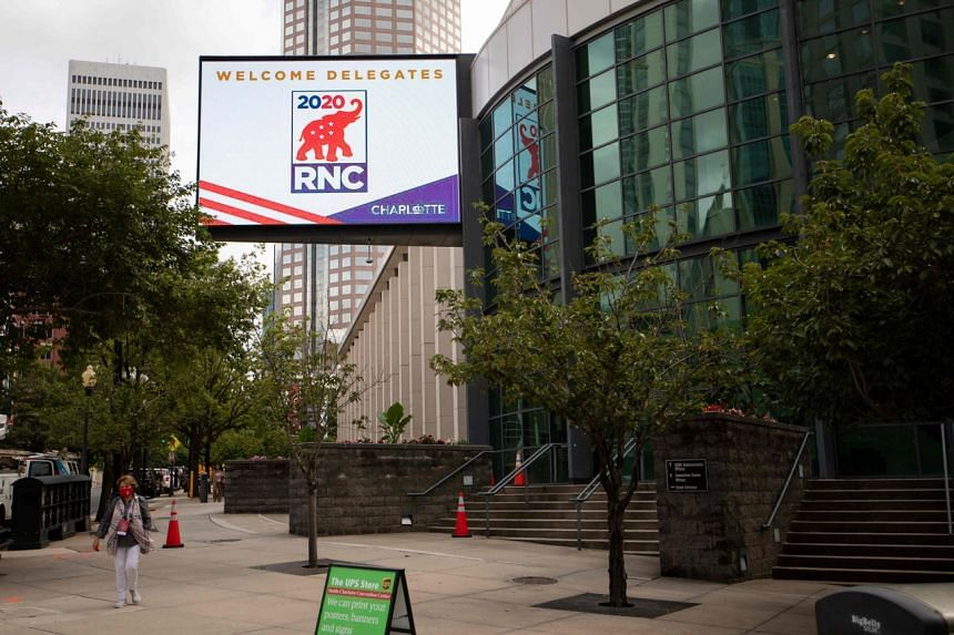 Signs for the 2020 Republican National Convention at the Charlotte Convention Center in North Carolina on Aug 22, 2020.
