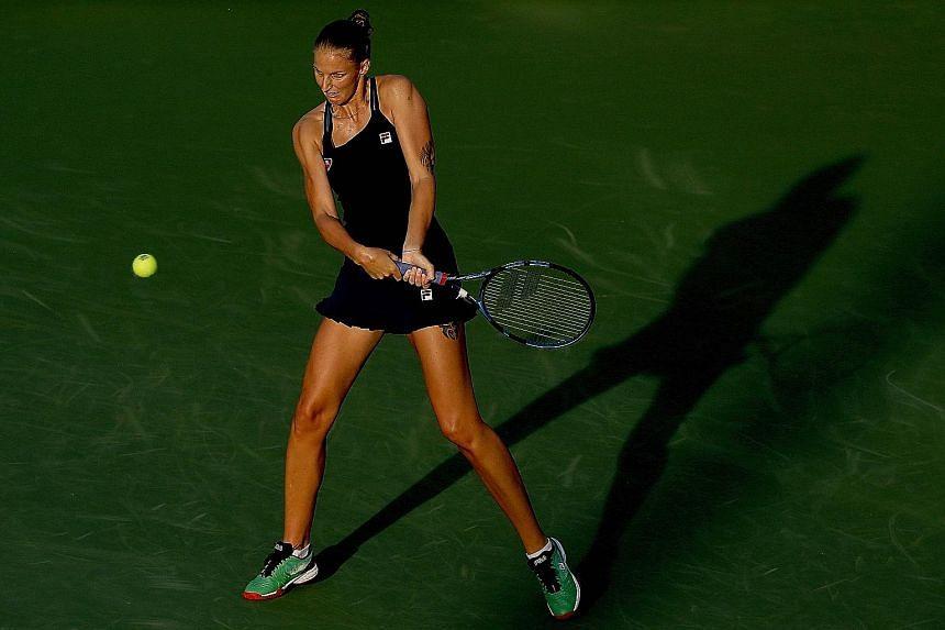 World No. 3 Karolina Pliskova committed nine double faults in her loss to Veronika Kudermetova on Sunday. PHOTO: AGENCE FRANCE-PRESSE