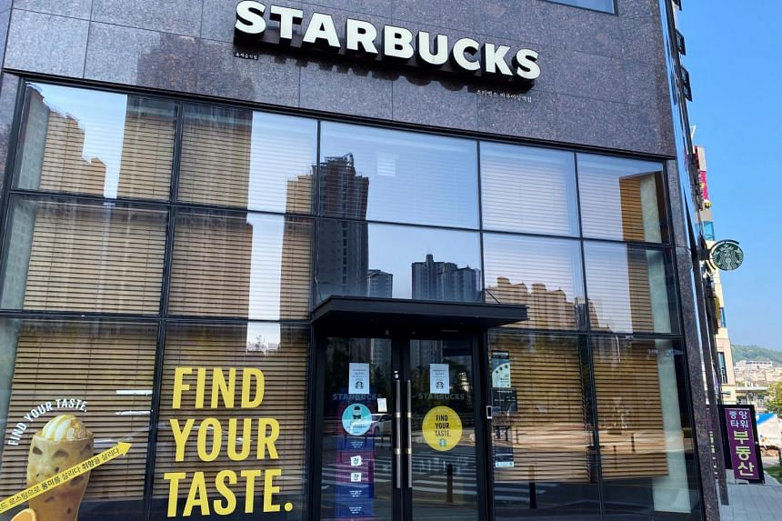 A Starbucks cafe that has been closed temporarily due to the coronavirus in Paju, South Korea, on August 18, 2020.