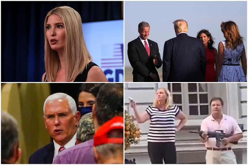 Among the speakers are (anti-clockwise from top left) Ms Ivanka Trump; Vice-President Mike Pence;St Louis couple Mark and Patricia McCloskey, who drew guns in front of Black Lives Matter protesters; and South Dakota Governor Kristi Noem (in red, with