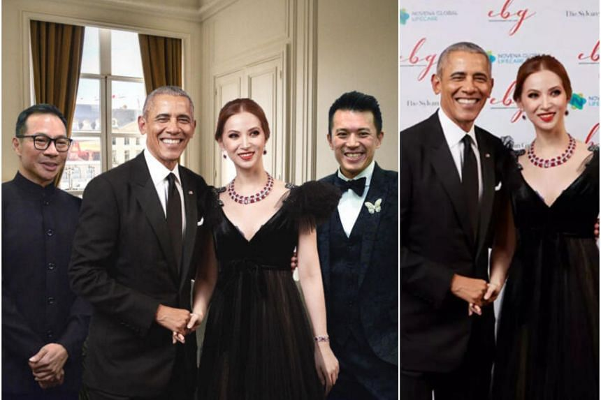 A publicity picture (left) distributed by Bellagraph Nova Group that purports to show its owners in a private meeting with former US president Barack Obama in Paris. In reality, the photo of Mr Obama was taken at a Dec 14 charity event in Singapore.