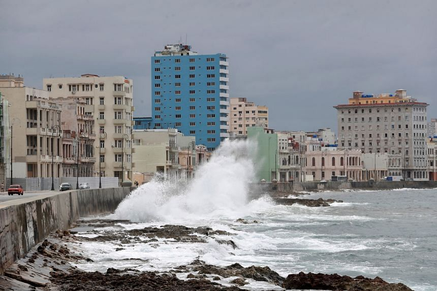 A swell, caused by the proximity of Tropical Storm Laura, in Havana, Cuba, on Aug 24, 2020.