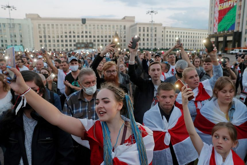 Belarusians protesting against the Aug 9 presidential election results, at an opposition rally at the Independence Square in Minsk, on Monday. PHOTO: REUTERS
