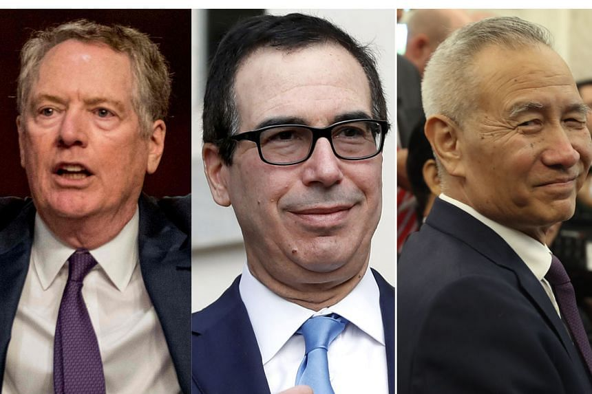 The telephone call yesterday between (from top) US Trade Representative Robert Lighthizer, US Treasury Secretary Steve Mnuchin and Chinese Vice-Premier Liu He was their first formal dialogue since early May on the phase one trade deal between the Uni