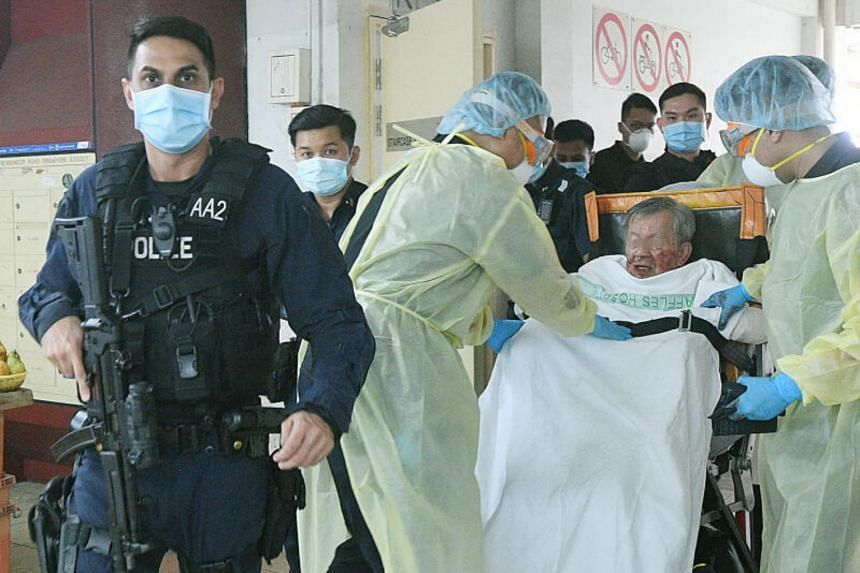 The victim was taken to Tan Tock Seng Hospital, while his father, identified only as Mr Wu, was taken to Raffles Hospital.