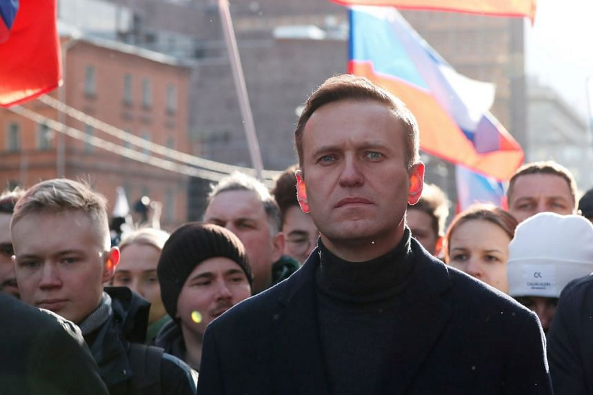 Russian opposition politician Alexei Navalny takes part in a rally in Moscow, Feb 29, 2020.