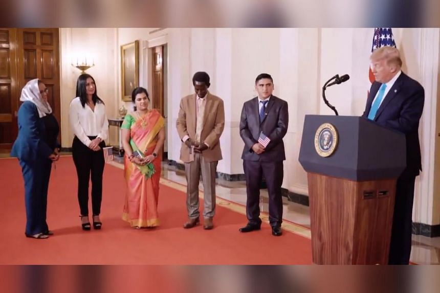 US President Donald Trump invited five immigrants to a White House naturalisation ceremony.