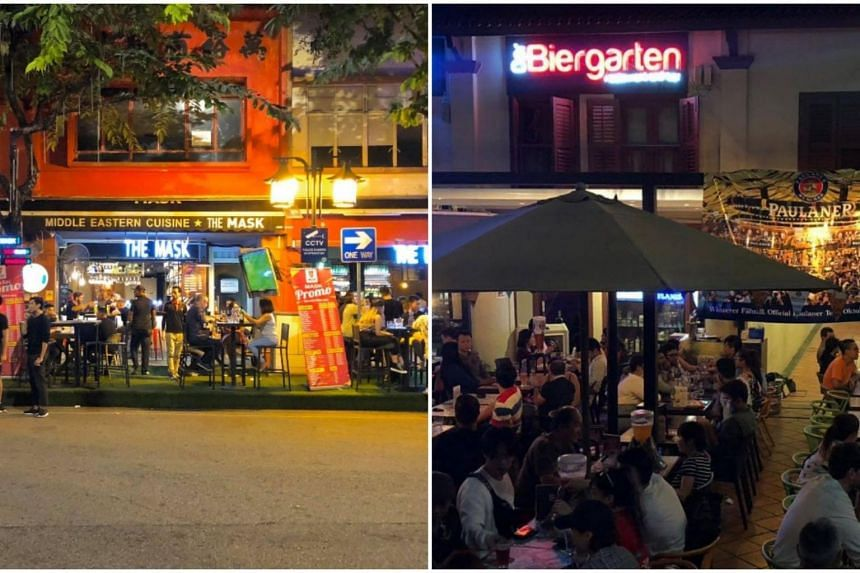 The Mask at Circular Road (left) and Der Biergarten at Prinsep Street.