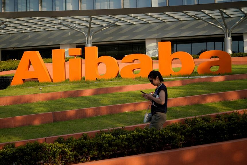 The Alibaba Group logo at the company's headquarters in Hangzhou, China, on July 20, 2018.