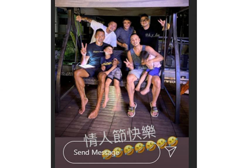 Stars Blackie Chen (front row, left), Jason Tang (front row, right), Shawn Yue (back row, left) and Wallace Huo (back row, centre) were gathered at Tang's home for Chinese Valentine's Day.