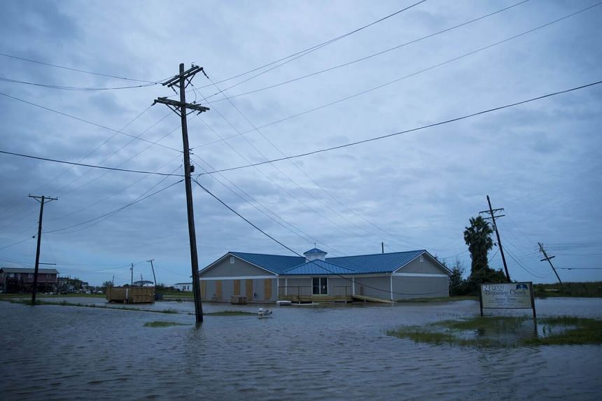 Flooding caused by Hurricane Laura is seen in Sabine Pass, Texas, on Aug 27, 2020.