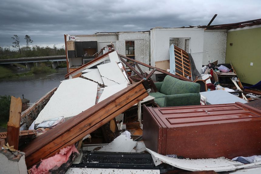 A damaged hotel room that had its roof blown off is seen after Hurricane Laura hit the area, in Lake Charles, Louisiana, on Aug 27, 2020.