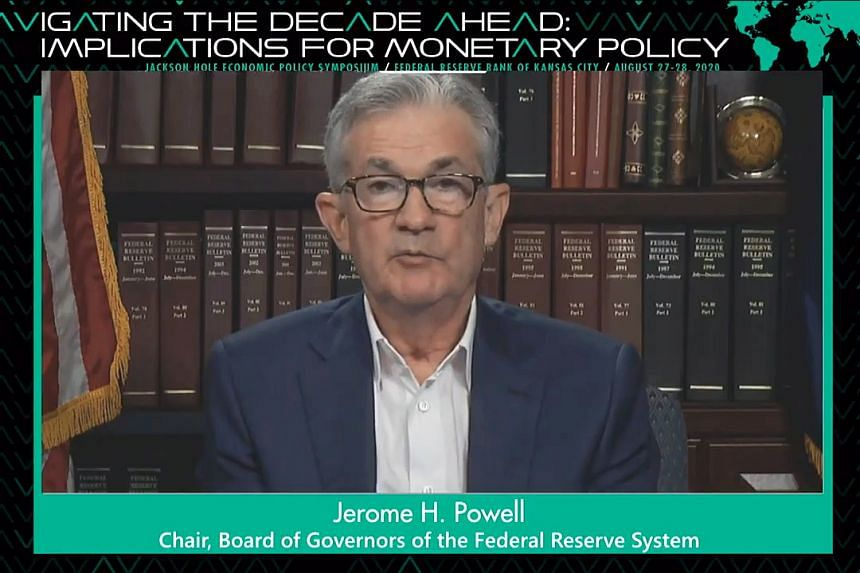 Fed chairman Jerome Powell speaks during a virtual symposium in Jackson Hole, US, on Aug 27, 2020.