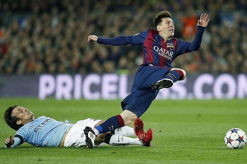 Lionel Messi goes flying after a tackle by Manchester City's David Silva during a 2015 Champions League match. Only a handful of clubs, including City, have the clout to sign the Barca icon.