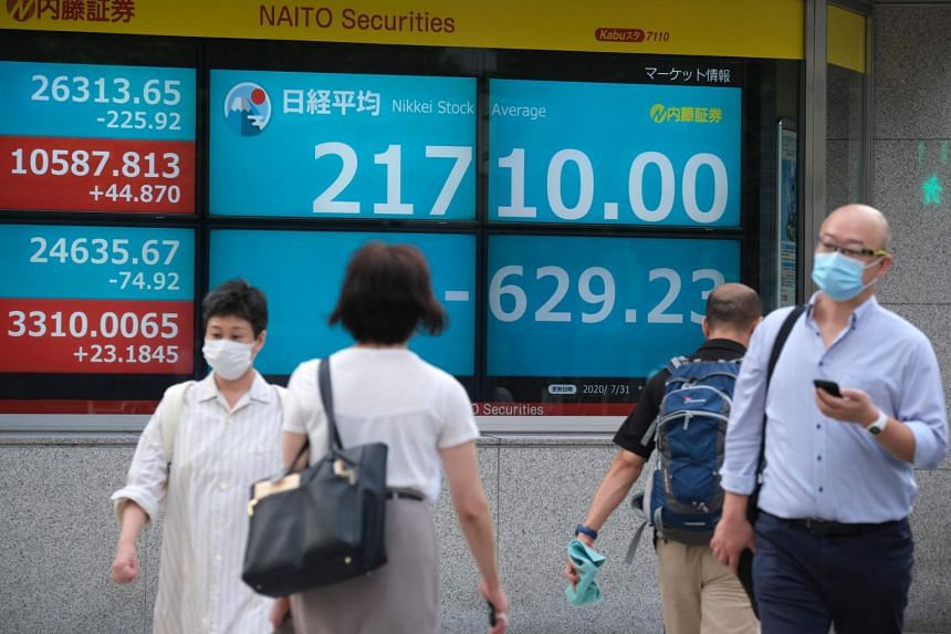 The Nikkei 225 dropped 2.1 per cent, or 486.99 points, to 22,721.87, reversing earlier gains, after local media reported that Mr Shinzo Abe was set to quit.