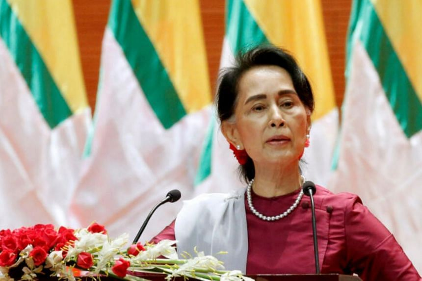 Myanmar State Counsellor Aung San Suu Kyi delivers a speech to the nation regarding the Rakhine and Rohingya situation in Naypyitaw.