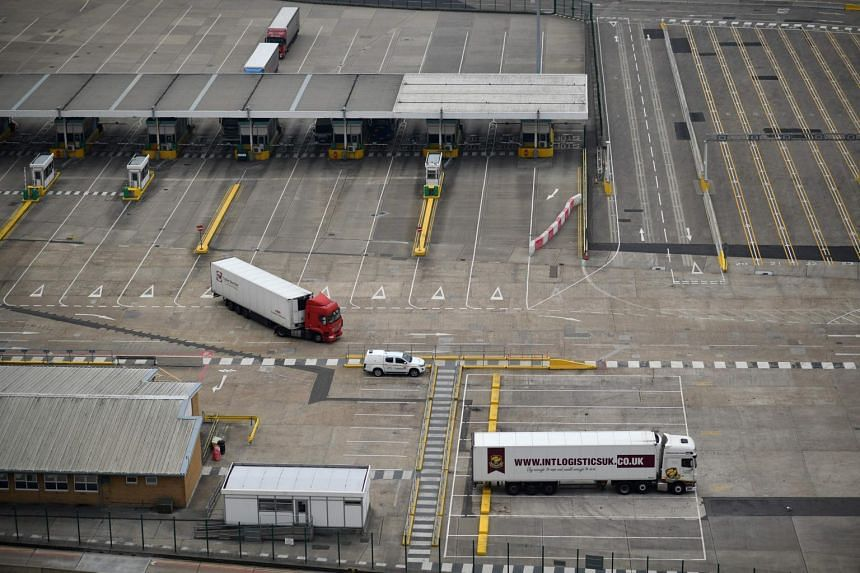 A freight lorry passes through a border force and customs checkpoint on June 12, 2020.