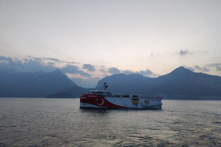 Turkey's Oruc Reis seismic survey vessel sails through Mediterranean on Aug 10, 2020.