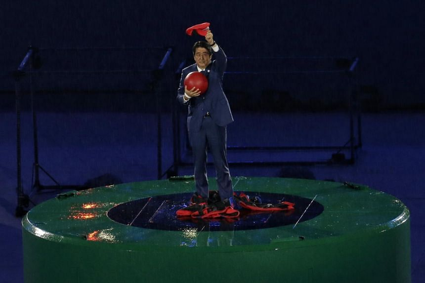 Japanese Prime Minister Shinzo Abe dressed as Super Mario during the closing ceremony of the Rio Olympic Games on Aug 21, 2016.
