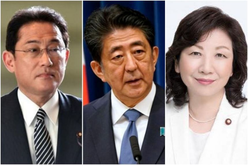 Party policy chief Fumio Kishida (left) and former Cabinet minister Seiko Noda (right) are among those in the race to succeed Prime Minister Shinzo Abe.